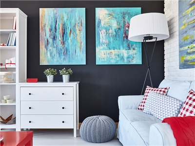 black wall in the living room