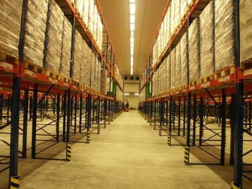 Entrepôt à froid négatif d'un centre logistique.
