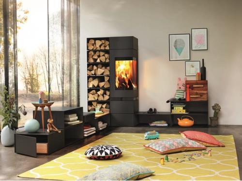 A fireplace becomes an elegant living landscape