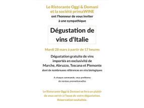 DEGUSTATION DE VINS D'ITALIE