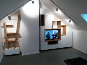 Espace bibliothèque et télévision sur-mesure