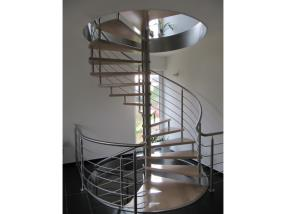 Stairs in wood-stainless steel